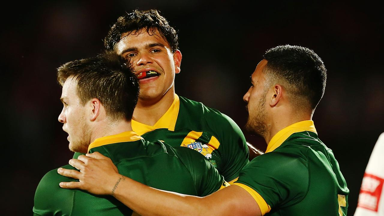 Luke Keary, Latrell Mitchell and Valentine Holmes during the International Test match between Tonga and Australia at Mount Smart Stadium on October 20, 2018. (Photo by Anthony Au-Yeung/Getty Images)