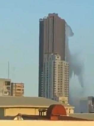 Incredible footage shows water thrown from a high-rise swimming pool in Manila.