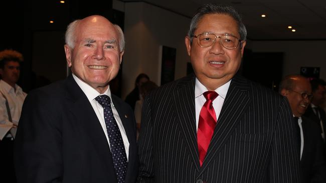 Former Australian prime minister John Howard with former Indonesian president Susilo Bambang Yuhoyono, who became Indonesia's first directly elected president on this day in 2004.