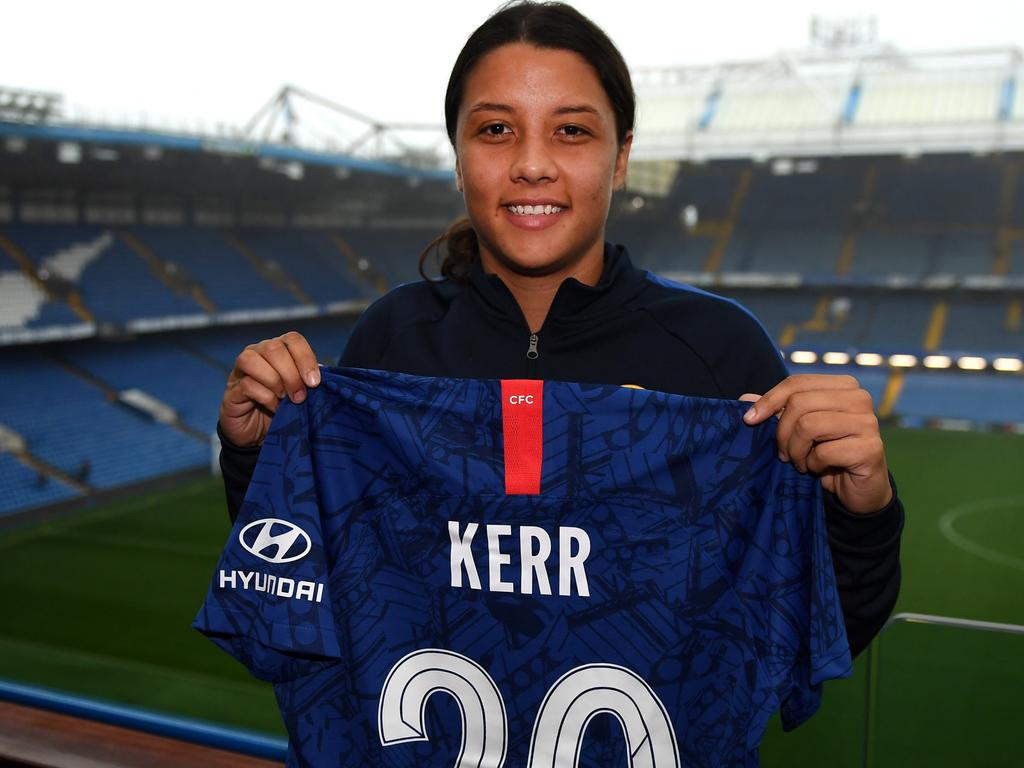 STRICT EMBARGO: Not for online until after 7pm Sydney time, November 13, 2019. Sam Kerr pictured at Stamford Bridge after signing for Chelsea.