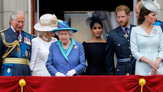 The Queen today said Prince Harry and Meghan were allowed to split their time between Britain and Canada while their future is finalised. Picture: AFP