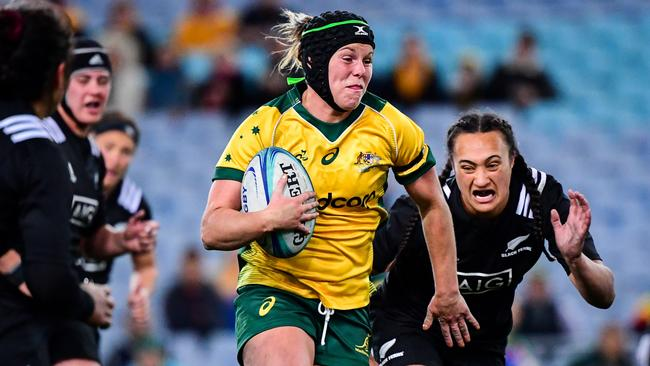 Wallaroos flanker Emily Chancellor during the Test against the Black Ferns at ANZ Stadium.