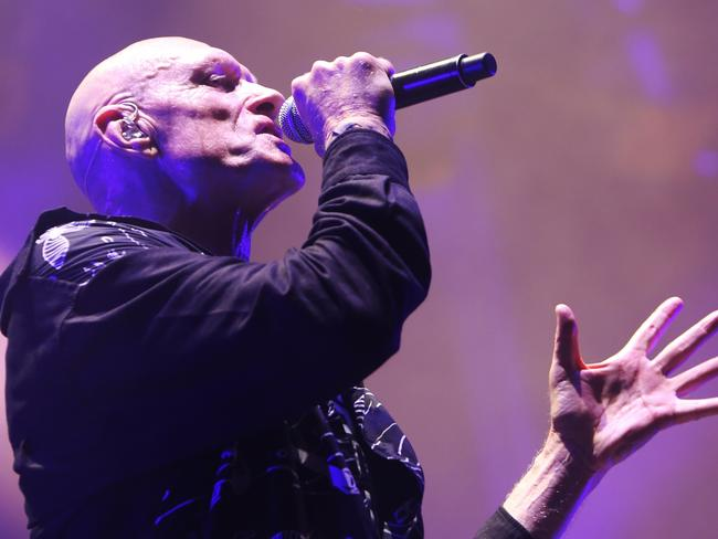 Peter Garrett had a message for former PM Paul Keating as Midnight Oil performed at The Domain in Sydney on Saturday. Picture: AAP
