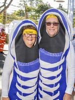 Katrina and Andrew Chisholm from Sunnybank Hills at the Bridge to Brisbane 2019 at South Bank, Sunday, August 25, 2019 (AAP Image/Richard Walker)