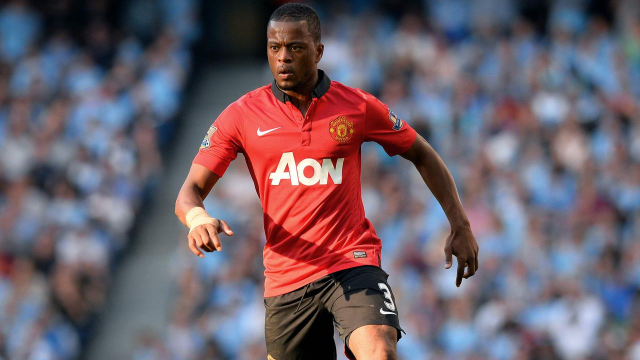 Patrice Evra playing for Manchester United in 2013.