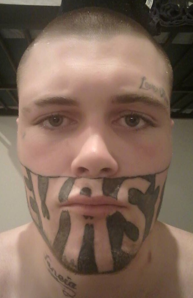 Mark Cropp's face tattoo is holding him back from getting a job. Picture: Mark Cropp/Facebook