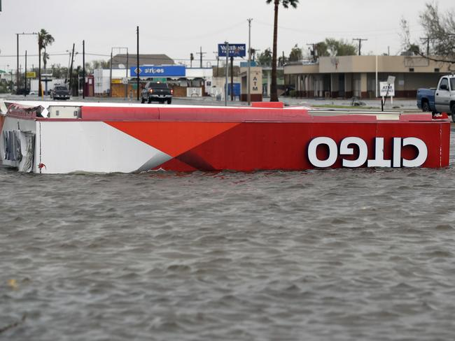The roof of a gas station sits in flood waters in the wake of Hurricane Harvey in Aransas Pass, Texas. Picture: AP