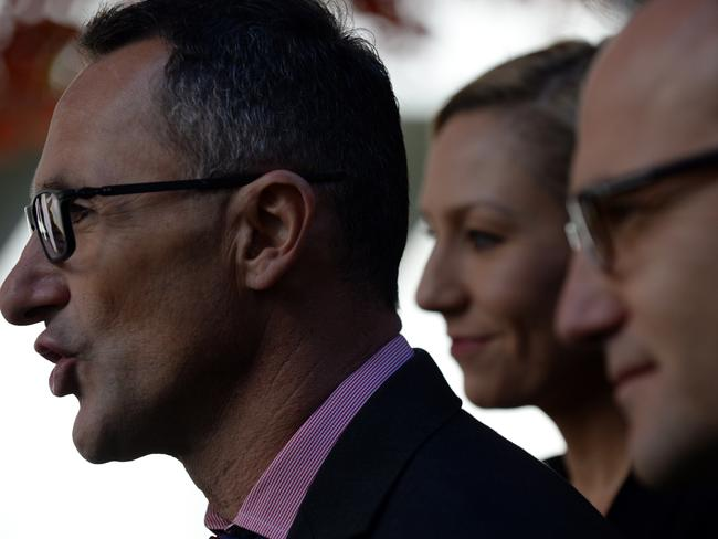 Greens Leader Richard Di Natale, Senator Larissa Waters and Senator Adam Bandt are not happy about these changes. Picture: Sam Mooy/AAP