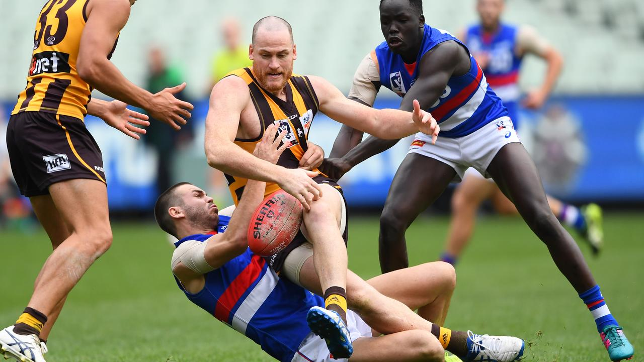Jarryd Roughead kicked five goals when he played his first VFL game in seven years earlier this month.