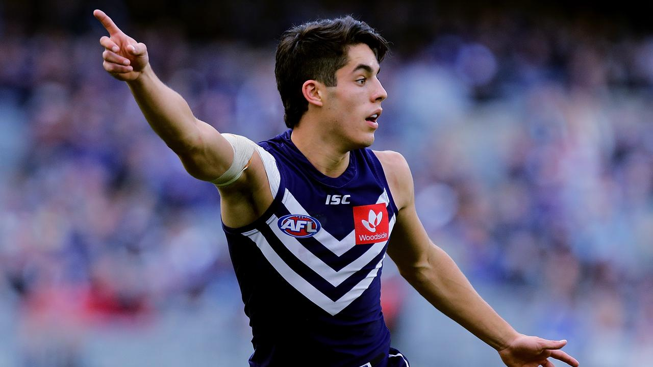 Adam Cerra calls for the ball during his first season at Fremantle.