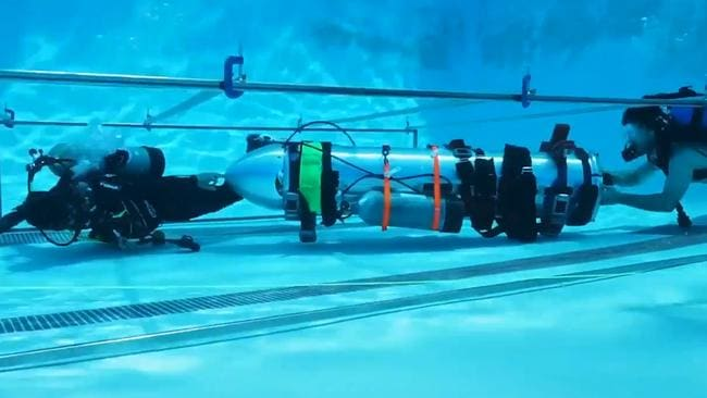 Elon Musk shared video of the mini-submarine testing underwater in LA pool. Picture: @elonmusk/Twitter