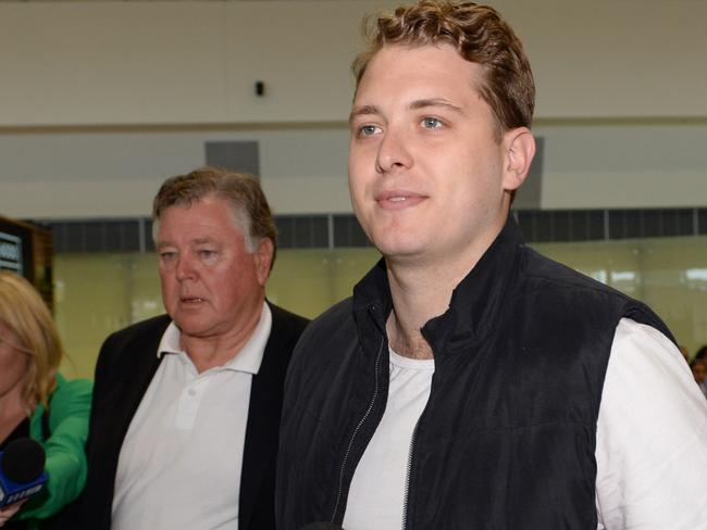 Jack Walker arrived back in Perth with his dad, CEO of the Shire of Kalgoorlie, John Walker. Picture: Justin Benson-Cooper