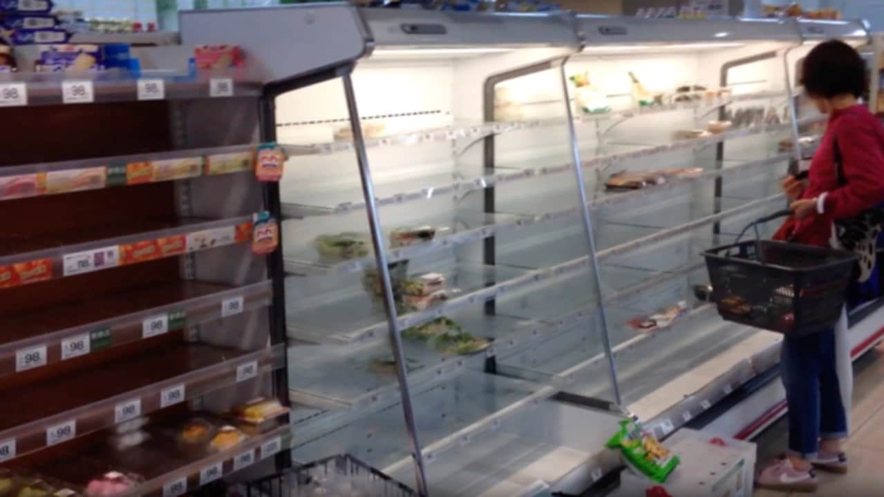 Supermarket Shelves Empty as 'Very Strong' Typhoon Nears Tokyo