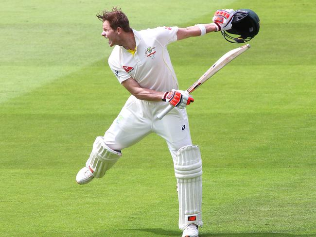 Smith celebrates scoring 200 runs during day two of the 2nd Ashes Test in 2015. Picture: Mitchell Gunn/Getty