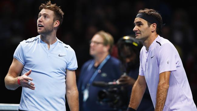 Roger Federer was left baffled by a Jack Sock tactic during their ATP Tour Finals match. (Photo by Clive Brunskill/Getty Images)