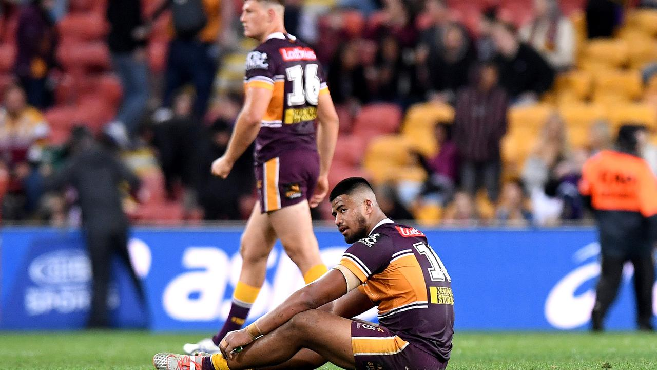 Payne Haas of the Broncos looks dejected after his team loses the round 20 NRL match between the Brisbane Broncos and the Melbourne Storm