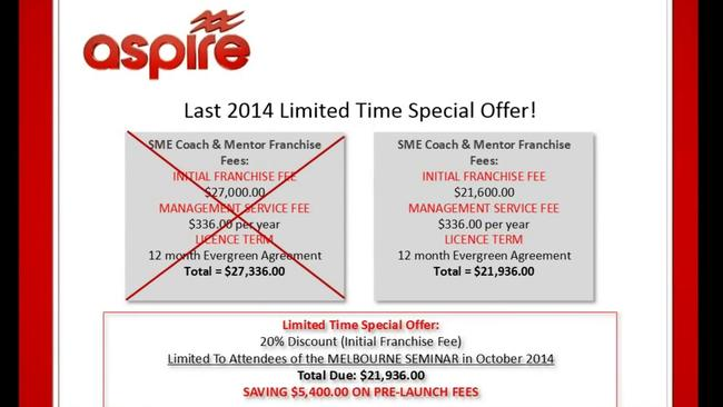 A training video dated 6 September 2014 outlines upcoming fee increases.