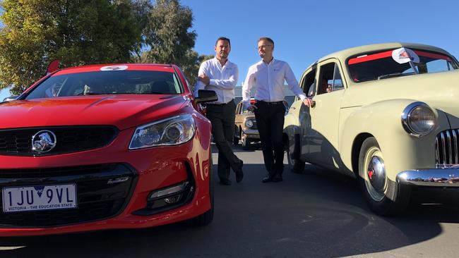 Holden boss Mark Bernhard (left) and manufacturing boss Richard Phillips (right) at the Holden Dream Cruise one week before the Elizabeth factory shutdown in 2017. Photo: Joshua Dowling.