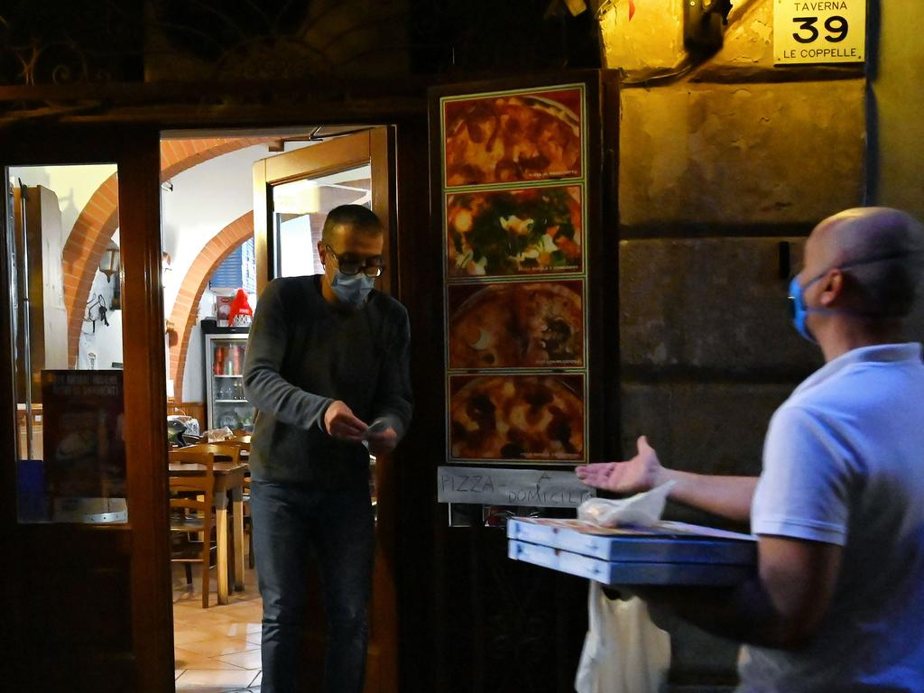 Italy remains in lockdown as restaurants offer only takeaway. Picture: AFP
