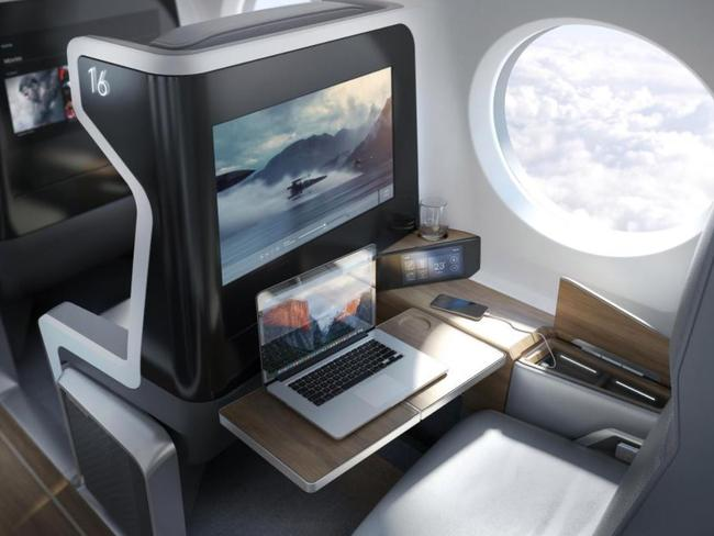 This is a computer generated image of what the interior of the finished 55-seat airliner could look like. Picture: Boom