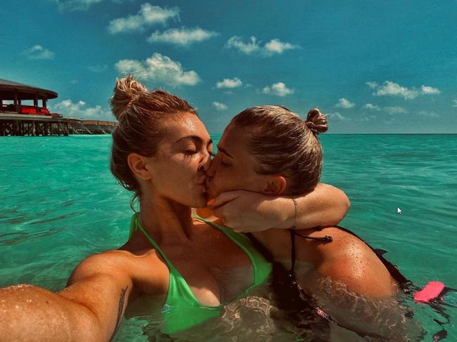 April Hunter with her girlfriend in the Maldives