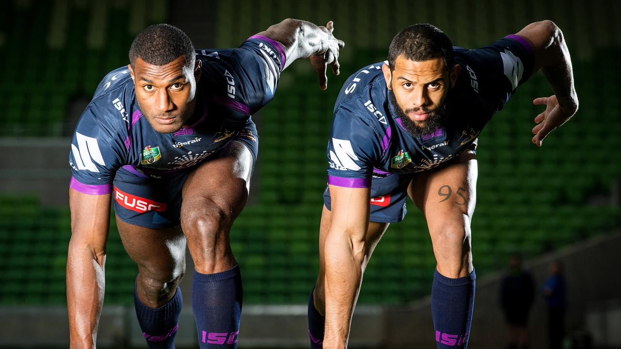 Melbourne Storm wingers Suliasi Vunivalu and Josh Addo-Carr. Picture: Mark Stewart