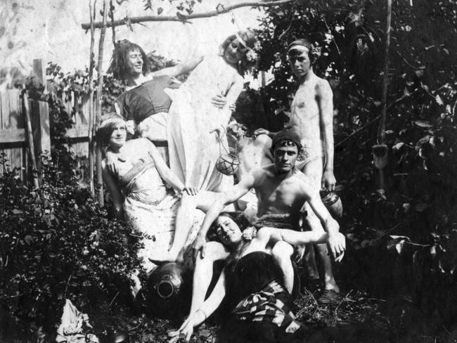 The Lindsay family c1900). Mary reclines in the front with (from left) Ruby, Norman, Pearl, Percy, Reg and friend Will Dyson. Picture: Lionel Lindsay
