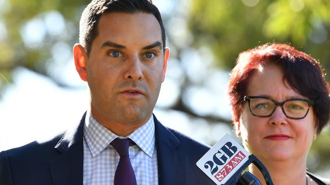 Independent MP Alex Greenwich (centre) has led the issue in the NSW Parliament, backed by Labor MP Penny Sharpe (left). Picture: AAP Image/Dean Lewins