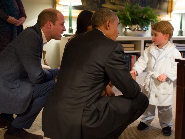 Prince George meets the Obamas at Kensington Palace in 2016. Picture: Pete Souza/The White House/Getty Images