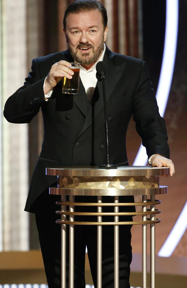 """""""You don't know anything about the real world,"""" Gervais told the famous crowd. Picture: AP."""