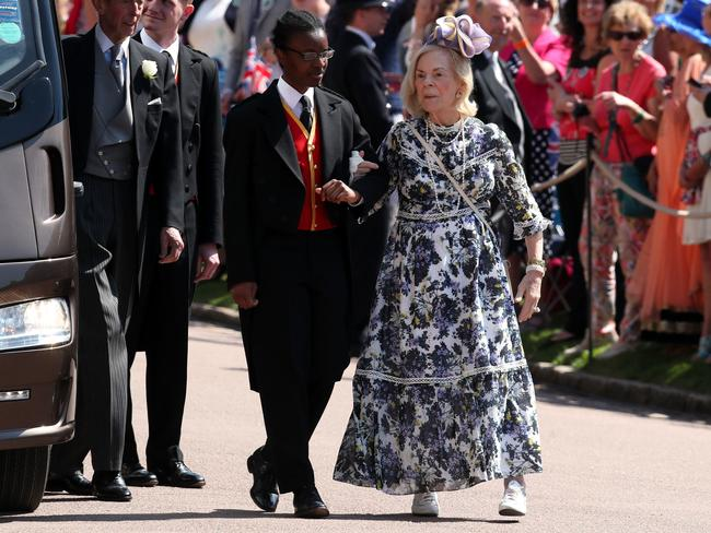 The Duchess of Kent rocking the same dress with white trainers at Prince Harry and Meghan Markle's wedding last year. Picture: Chris Radburn/WPA Pool/Getty Images
