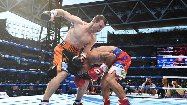Jeff Horn taking the fight to Manny Pacquiao.