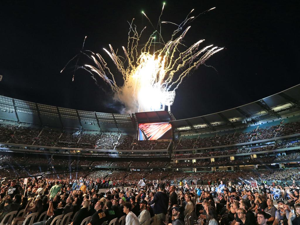 A spectacular opening to the WWE Super Show-Down event at the MCG. Picture: Mark Stewart