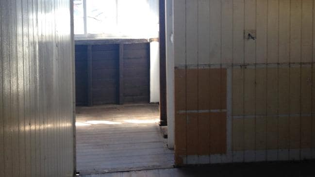 BEFORE: The gutted kitchen in the original house at 12 Wordsworth St, Bulimba.