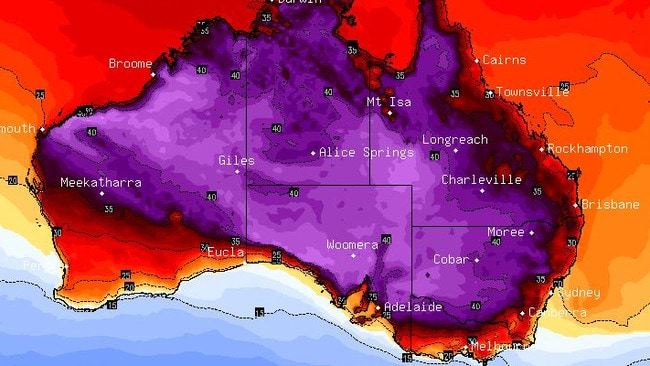 Next Tuesday, temperatures are set to soar once again on the east coast as a band of desert air (in purple above) bears down. Picture: BSCH.