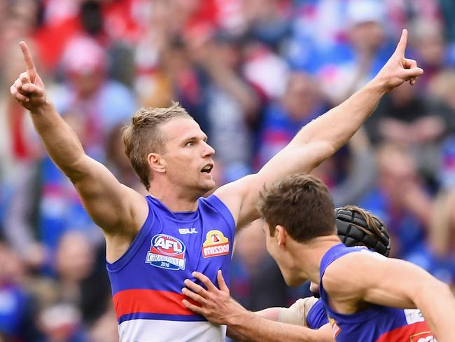 Jake Stringer celebrates a goal during the grand final. (Photo by Quinn Rooney/Getty Images)