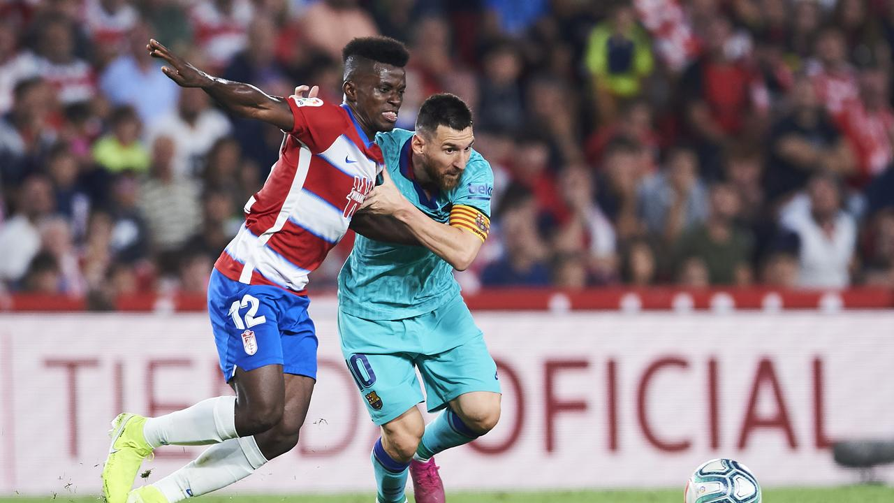 Lionel Messi was unable to help Barcelona beat lowly Granada this morning. (Photo by Aitor Alcalde/Getty Images)
