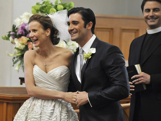 Rachel Griffiths as Sarah and Gilles Marini as Luc in  <i>Brothers & Sisters</i>.