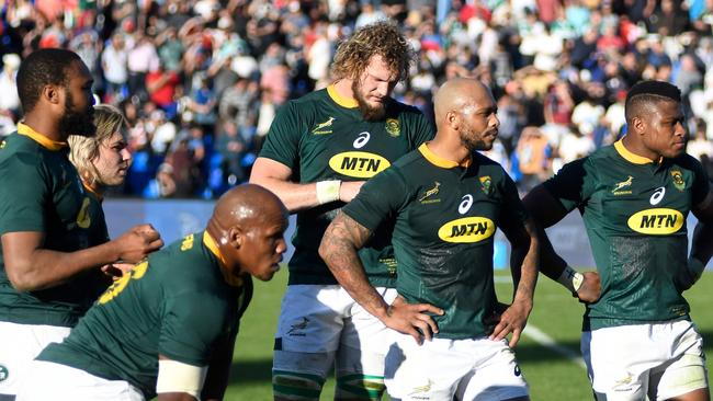 The Springboks react in dejection after their Rugby Championship match against Argentina.