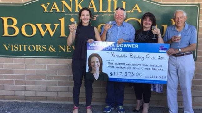 The giant novelty cheque in question. Picture: Georgina Downer — Liberal for Mayo/Facebook