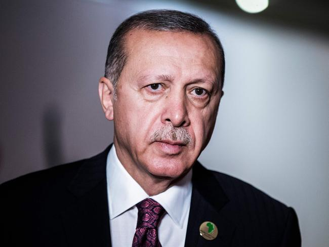 Turkish President Recep Tayyip Erdogan is appealing for calm as the country's currency continues to plunge. Picture: AFP