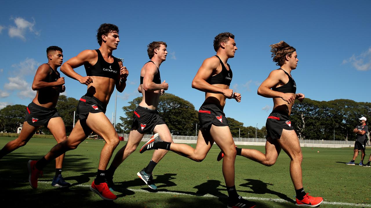 Nick Blakey, Will Hayward and James Rowbottom run hard on the first day back at training. Picture: Phil Hillyard