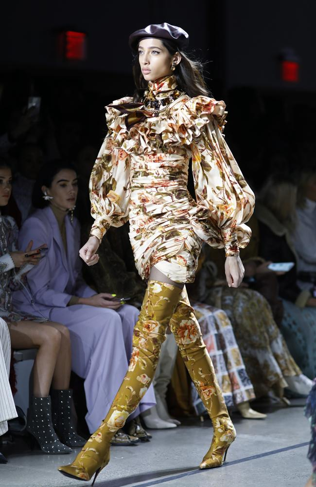 A case for thigh-high floral boots. Picture: AP Photo/Mark Lennihan