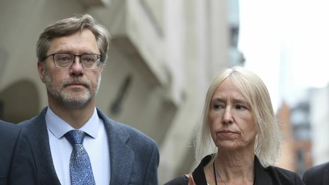 John Letts and Sally Lane outside the Old Bailey in London after being given suspended prison sentences for trying to send him money. Picture: AP