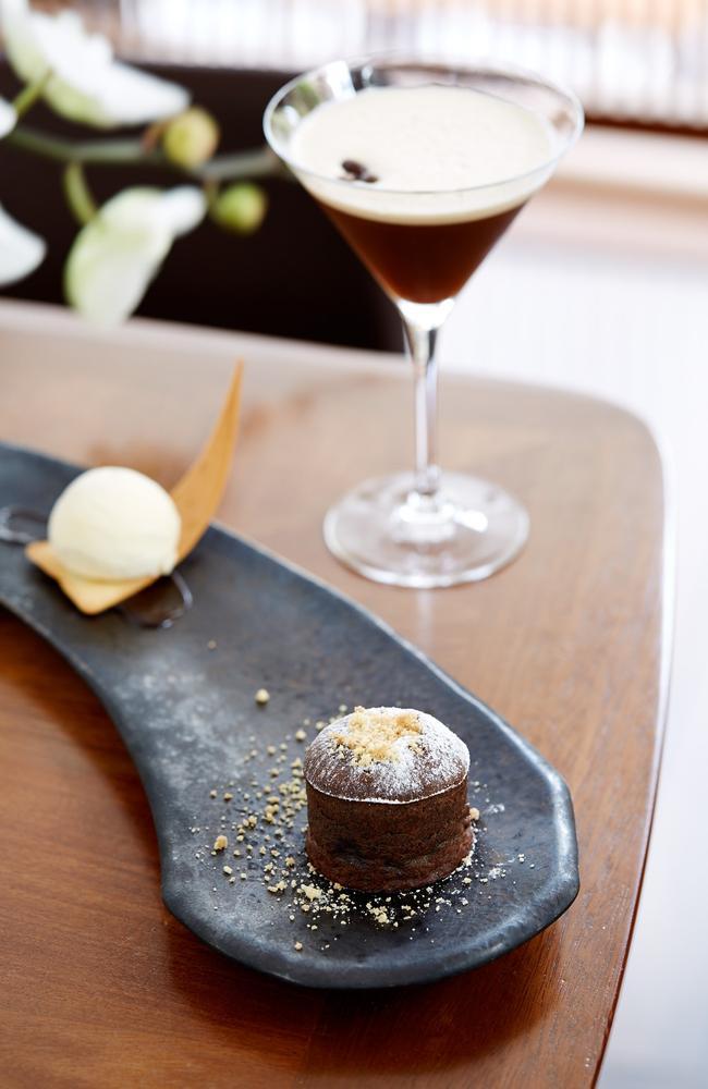 Toko Sydney's dark chocolate and hazelnut fondant, and milk ice cream.