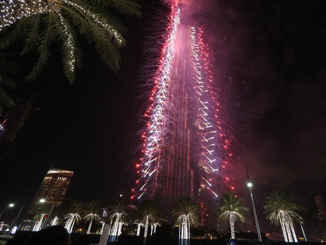 Fireworks illuminate the Burj Khalifa.