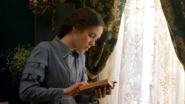 Jo March in Little Women, another classic female reader in a female-written story. Photo: Little Women