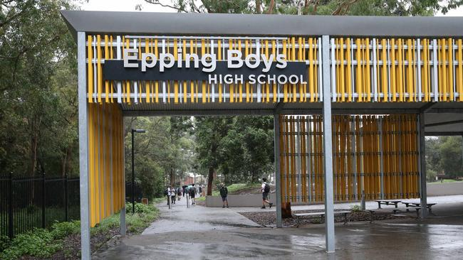 Students returned to Epping Boys High School on Monday. Picture Rohan Kelly
