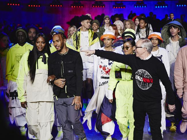 The finale! Naomi Campbell, Lewis Hamilton, H.E.R and Tommy Hilfiger take a bow a the Tate Modern in London. Picture: Getty Images for Tommy Hilfiger