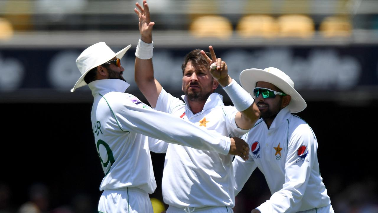 Yasir Shah celebrates with his seven-finger salute after dismissing Steve Smith.